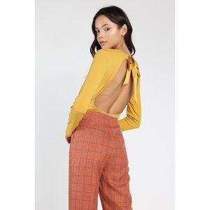Tops - 🆕 Mustard Long Sleeve Open Tie Back Bodysuit